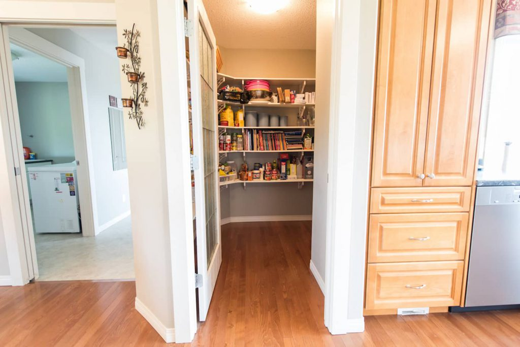 This wheel in pantry is every homeowner's dream, and it helps make up for omitted storage under kitchen workspaces.