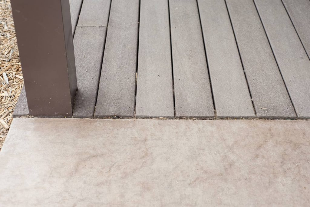 The level transition between concrete and composite decking makes for easy wheeling!