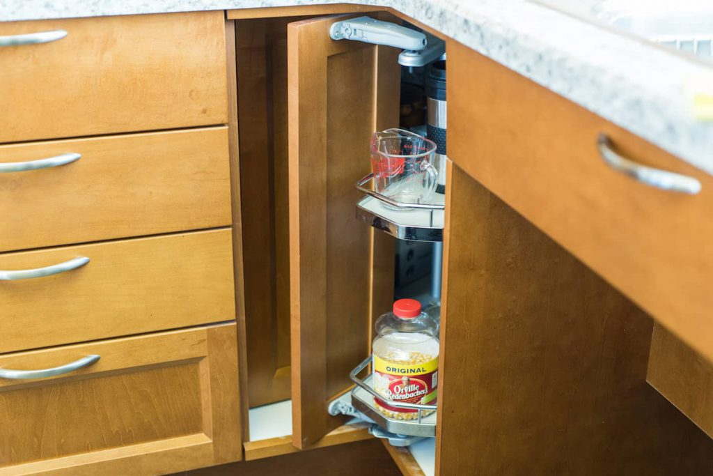 A Lazy Susan is great for space utilization, and a excellent option in accessibility.