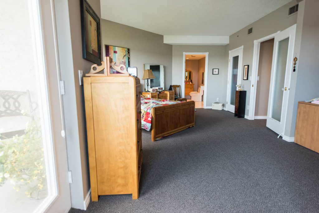 The carpet used is  a low pile, commecial capet. It runs through the bedroom, hallway, living room and dining room areas.