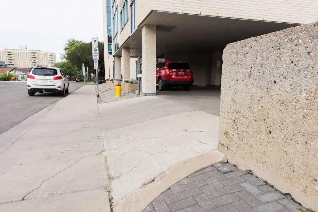 The ramp to the parking lot is very steep. Much too steep for any modified vehicles with a lowered floor.