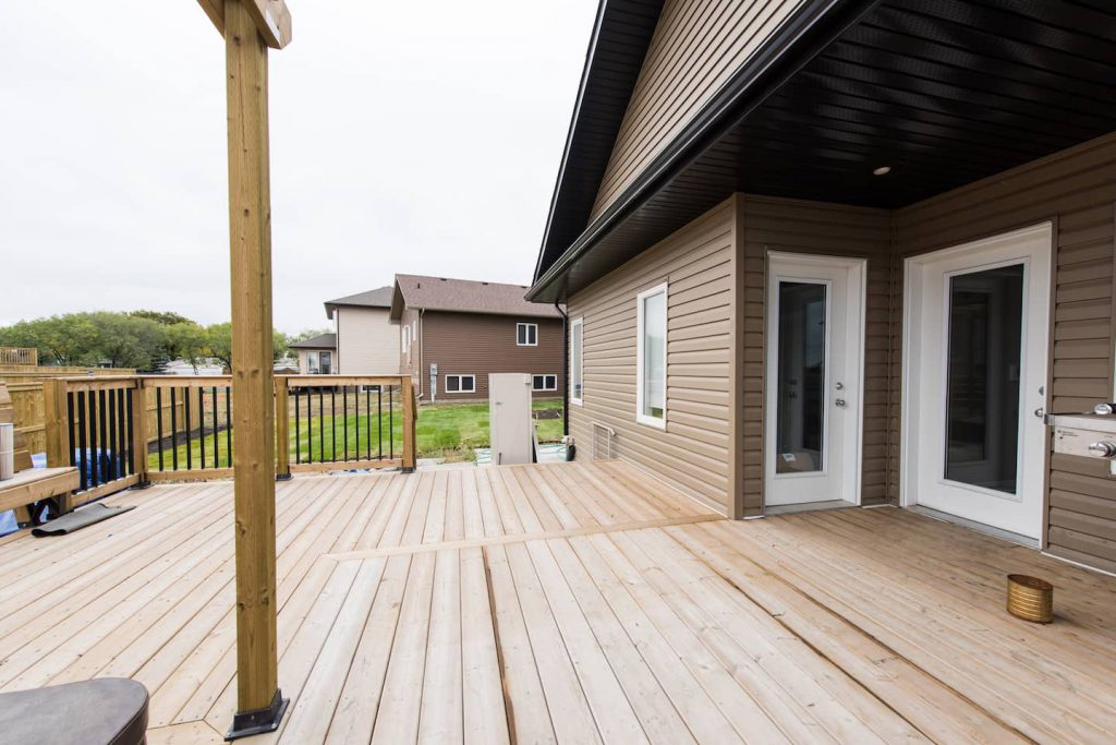 Both the master bedroom and the dining room can be accessed from the back deck.
