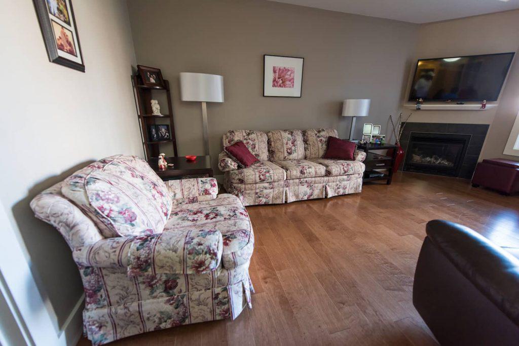 Living room with hardwood floors.