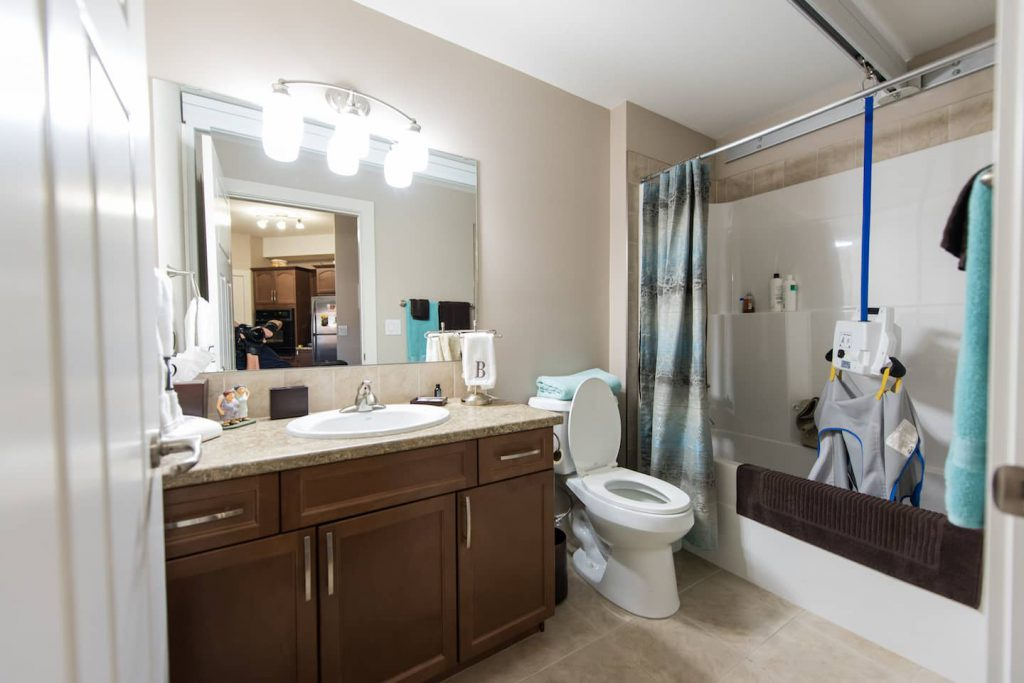 As this is the main bathroom, not the master, the sink is not accessible underneath, opting instead for extra storage.