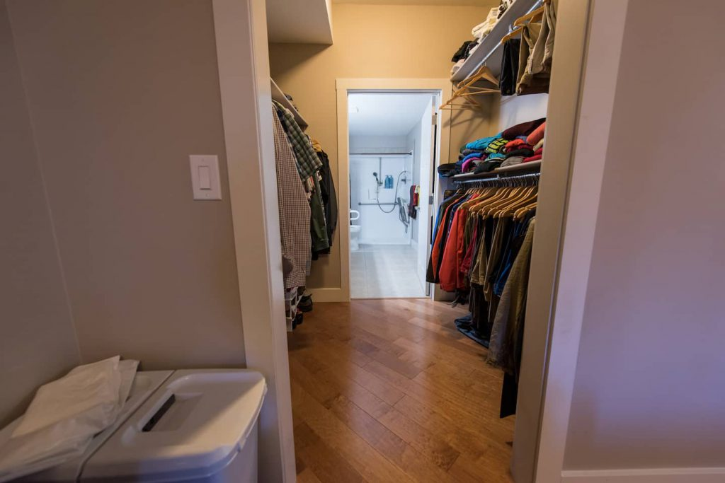 The bedroom is attached to the master bath via a wheel through closet.
