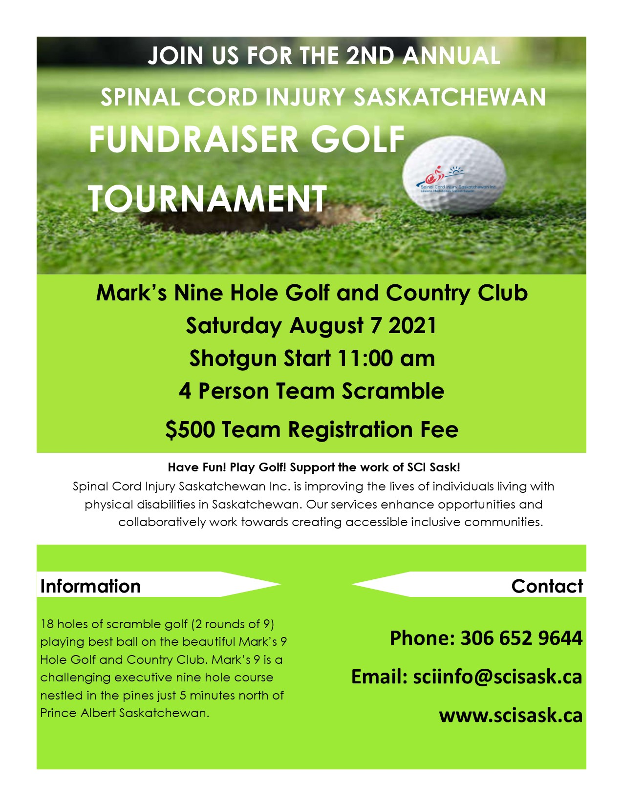 POSTER 2nd Annual Golf Tournament 2021